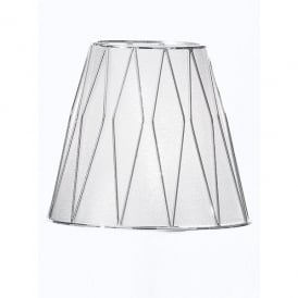 Translucent Silver Fabric Shade with Polished Chrome Cage Design