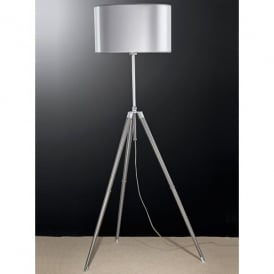 Tripod Single Light Floor Lamp with Silver Shade and Polished Chrome Finish