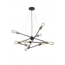 Triptych 6 Light Multi Arm Ceiling Fitting in Dark Iron Finish