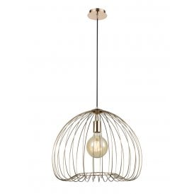 Tropic Single Light Large Ceiling Pendant in Gold Finish