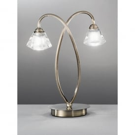Twista 2 Light Table Lamp in Bronze Finish with Clear and Frosted Crystal