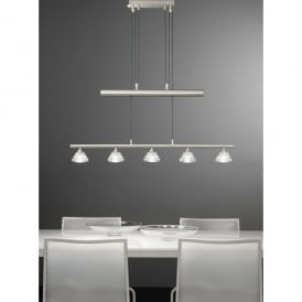 Twista 5 Light Rise and Fall Ceiling Pendant in Satin Nickel