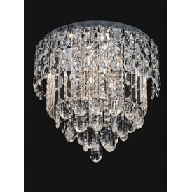 Tzarina 9 Light Flush Ceiling Fitting In Polished Chrome Finish And Crystal Drops