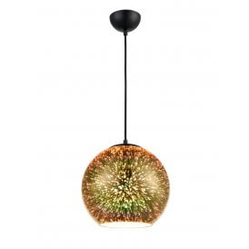 Vision Single Light Large Ceiling Pendant in Black and Gold Finish