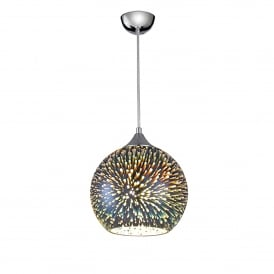 Vision Single Light Large Round 3D Effect Ceiling Pendant With Polished Chrome Finish