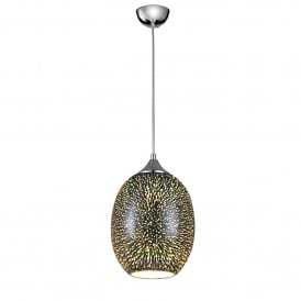 Vision Single Light Silver Ceiling Pendant With 3D Effect And Polished Chrome Finish
