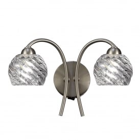 Vortex 2 Light Switched Wall Fitting In Satin Nickel Finish With Clear Glass Shades