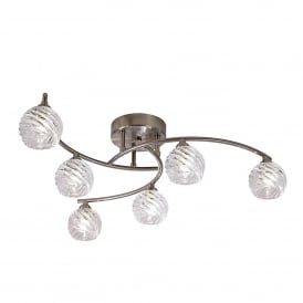 Vortex 6 Light Semi Flush Ceiling Fitting In Satin Nickel Finish With Clear Glass Shades