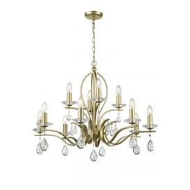 Willow 12 Light Chandelier with a Matt Gold Finish and Crystal Decoration