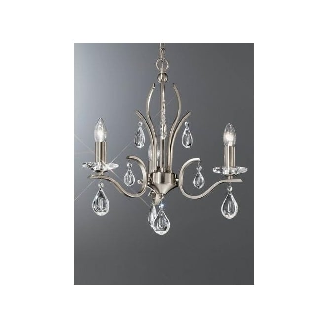 franklite willow 3 light chandelier with a satin nickel finish