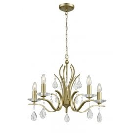 Willow 5 Light Chandelier with a Matt Gold Finish and Crystal Decoration