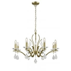 Willow 8 Light Chandelier with a Matt Gold Finish and Crystal Decoration