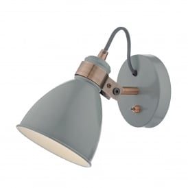 Frederick Single Light Wall Fitting in Soft Gloss Grey Finish with Copper Metalwork