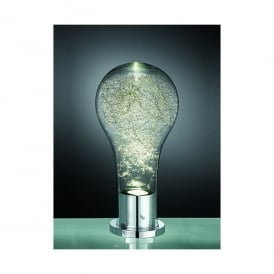 Frenzy Single Light LED Table Lamp In Polished Chrome And Clear Glass Finish