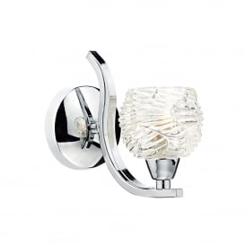 Fuego Single Light Wall Fitting In Polished Chrome With Patterned Glass Shades
