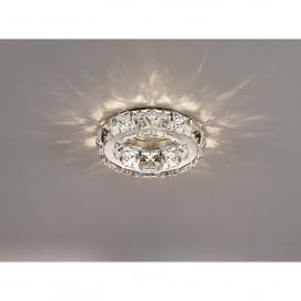Galaxy Single Light Recessed Downlight In Chrome And Crystal Finish