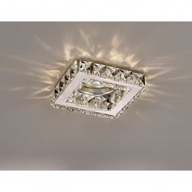 Galaxy Single Light Recessed Square Downlight In Chrome And Crystal Finish