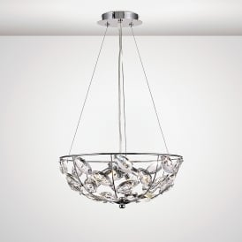 Galilea 4 Light Ceiling Pendant In Polished Chrome And Crystal Finish