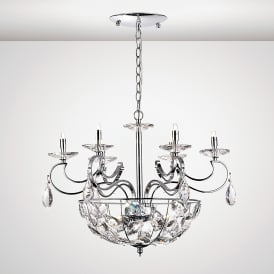 Galilea 9 Light Ceiling Pendant In Polished Chrome And Crystal Finish