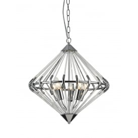 Gerda 5 Light Ceiling Pendant In Polished Chrome And Crystal Finish