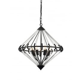 Gerda 7 Light Ceiling Pendant In Black And Crystal Finish