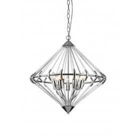Gerda 7 Light Ceiling Pendant In Polished Chrome And Crystal Finish