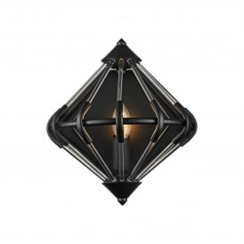 Gerda Single Light Wall Fitting In Black And Crystal Finish
