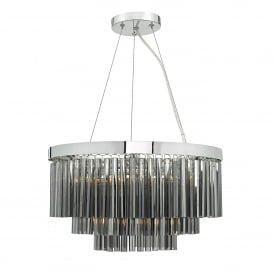 Giovana 5 Light Ceiling Pendant in Polished Chrome Finish with Smoked Glass