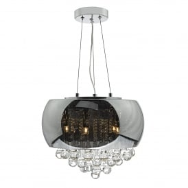 Giselle 5 Light Ceiling Pendant in Smoked and Clear Finish