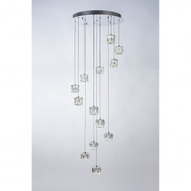 Glacier 13 Light LED Spiral Dimmable Ceiling Pendant in Polished Chrome and Clear Glass Finish