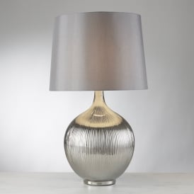 Glenmont Single Light Chrome Table Lamp With Polished Chrome Finish Ridged Base And Silver Shade