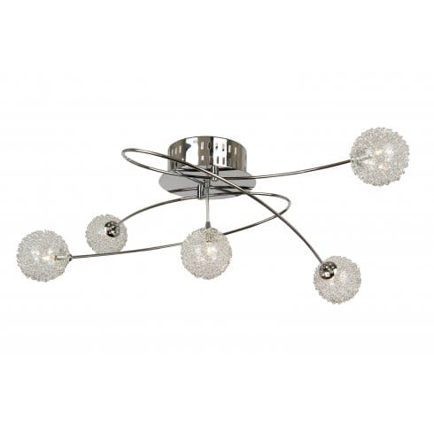 globo lighting belluno 5 light ceiling fitting in polished chrome with decorative shades. Black Bedroom Furniture Sets. Home Design Ideas