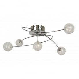 Belluno 5 Light Ceiling Fitting in Polished Chrome with Decorative Shades