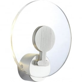 Fanny LED Single Light Wall Fitting with an Aluminium Finish and a Clear Disc