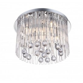 Jolina 5 Light Semi-Flush Ceiling Fixture in Polished Chrome with Clear Decoration