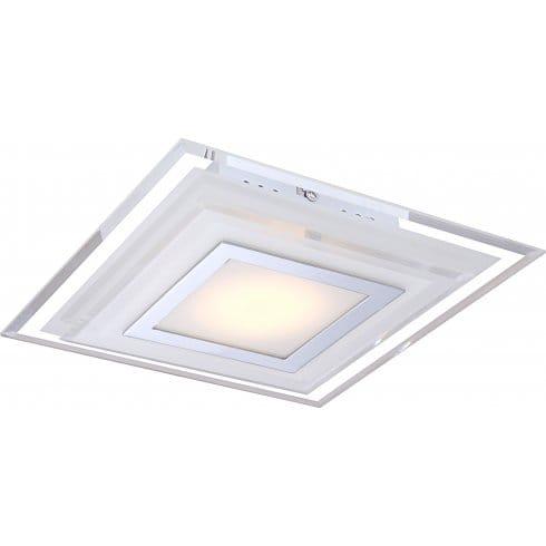 globo lighting nando medium single light led ceiling fitting in polished chrome with glass cover. Black Bedroom Furniture Sets. Home Design Ideas
