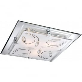 Rose Large 3 Light Ceiling Fitting in Opal and Mirrored Glass with K9 Crystal Detail