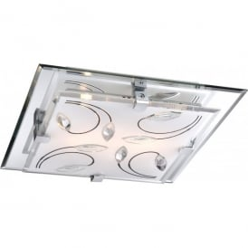 Rose Medium 2 Light Ceiling Fitting in Opal and Mirrored Glass with K9 Crystal Detail