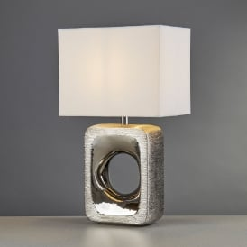 Grange Single Light Table Lamp With Silver Etched Base And White Shade
