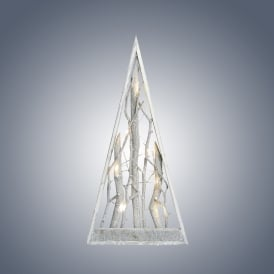 Grey Washed Wooden Pyramid Tree with Warm White LED's
