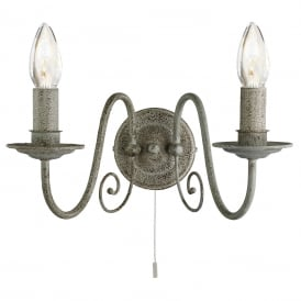 Greythorne 2 Light Metal Wall Fitting In Textured Grey Finish