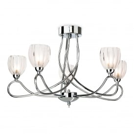 Grove 5 Light Semi Flush Ceiling Fitting In Polished Chrome Finish With Frosted Glass Shades