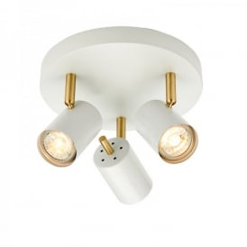 Gull Triple Light LED Ceiling Spotlight Fitting In White And Brushed Brass Finish