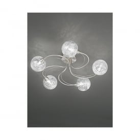 Gyro 5 Light Semi Flush Ceiling Fitting In Satin Nickel And Clear Glass Finish