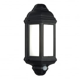 Halbury Single LED Flush Outdoor PIR Wall Lantern In Matt Black Finish With Frosted Diffuser