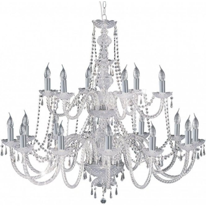 Searchlight Lighting Hale 18 Light Crystal Chandelier in Polished Chrome Finish