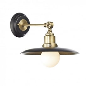 Hannover Single Light Wall Fixture in Black and Antique Brass Finishes