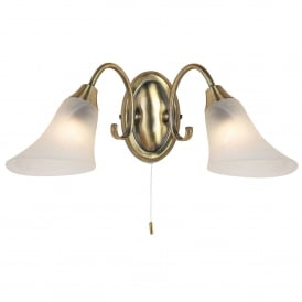Hardwick 2 Light Wall Fitting In Antique Brass Finish
