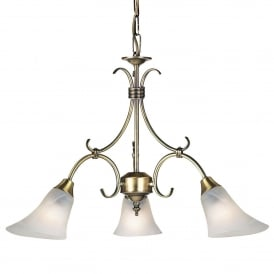 Hardwick 3 Light Ceiling Fitting In Antique Brass Finish