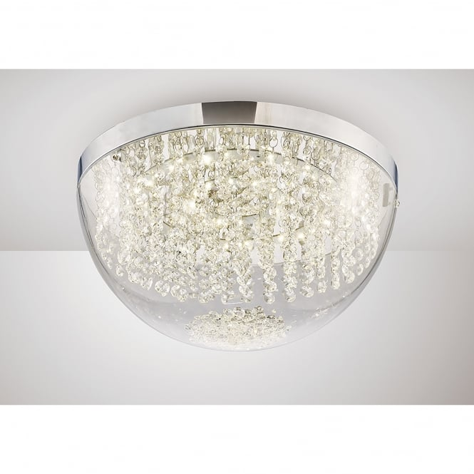 Diyas Harper LED Large Flush Ceiling Fitting In Polished Chrome And Crystal Finish